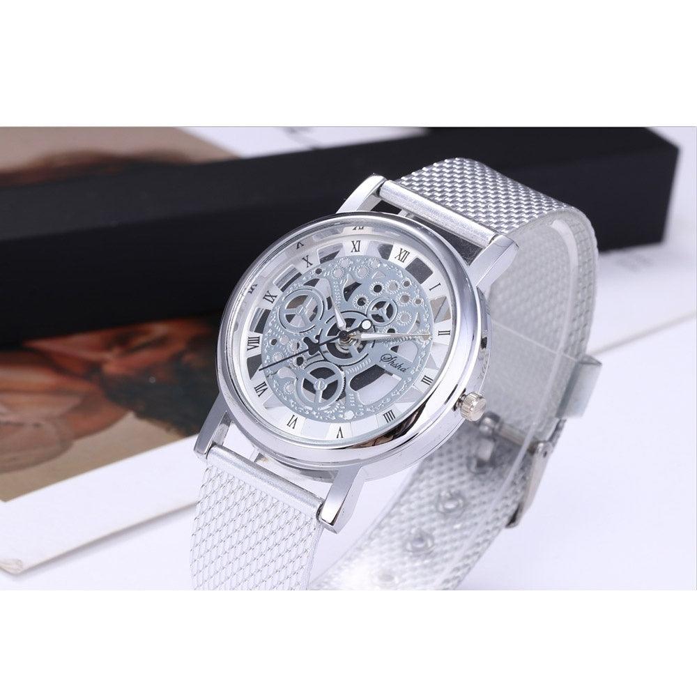 Men's Fashion Hollow Out Business Quartz Watch Stainless Steel Mesh Belt Dial Pointer Roman Word Round Casual Men's Watch 4 Colors Relogio Masculino
