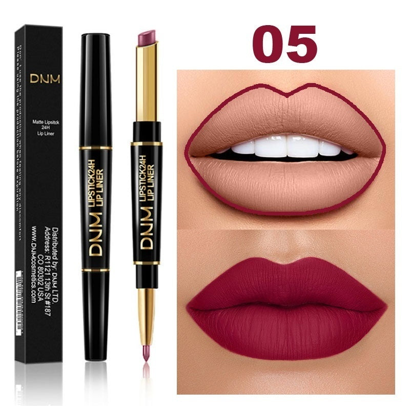 1pc Double head Lipstick & Lip Liner Brand DNM Do not fade multi-function pearl matte lipstick pen waterproof long-lasting lip makeup