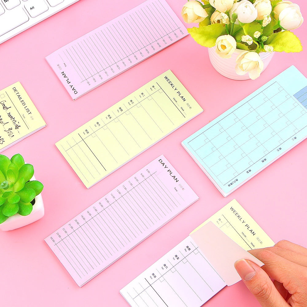 1Pcs Daily Weekly Month Planner Check List Portable Small Book Memo Pad Sticky Notes Stationery School Supplies