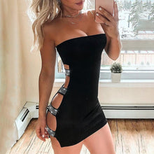 Load image into Gallery viewer, Women Studded Ladder Cut Out Tube Bodycon Off Shoulder Backless Dress