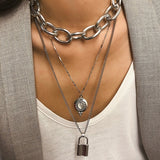 New Exaggerated Metal Punk Chain Long Necklace Pendant Simple Diamond-locked Multi-layer Long Necklaces for Women