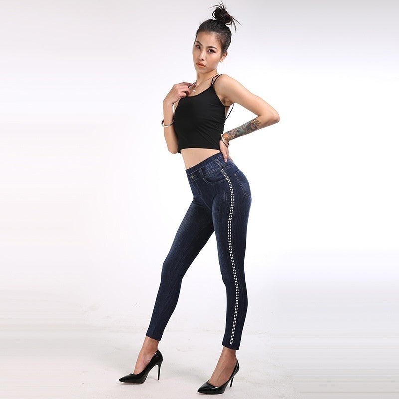 New Fashion Women's Imitation Jeans Stretchable Slim Leggings High Waist Ankle-length Pants