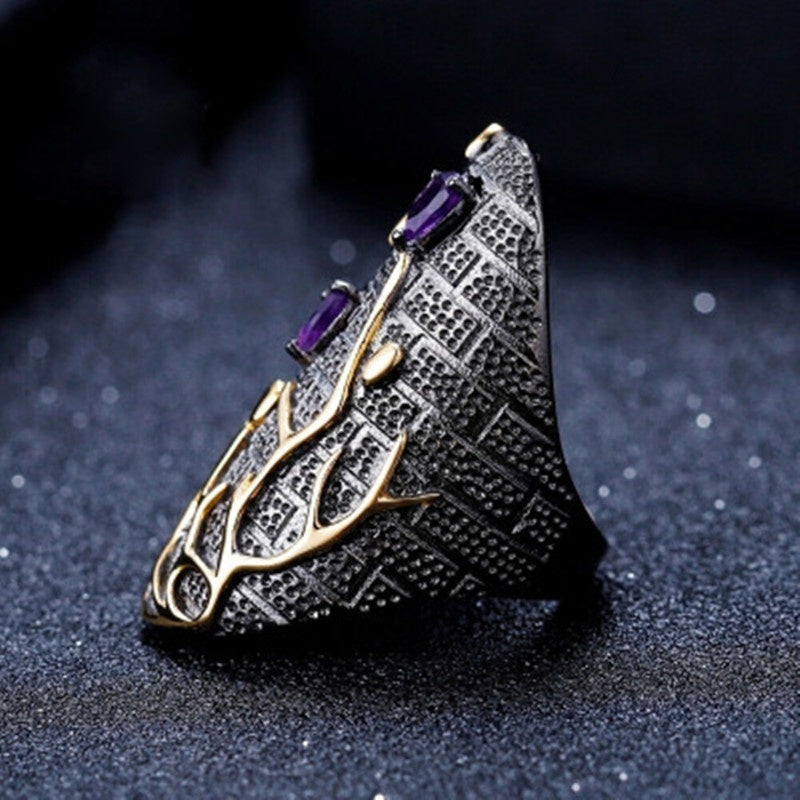 Luxury 18k Gold Plated Jewelry Ring Purple Diamond Tree Shape 925 Sterling Silver Rings for Women Men Engagement & Wedding Black Ring Size 6-10