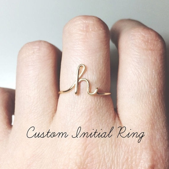 26 Letters Simple Exquisite 925 Silver Goldplated Ring Charm Women Personal Rings Gift For Her