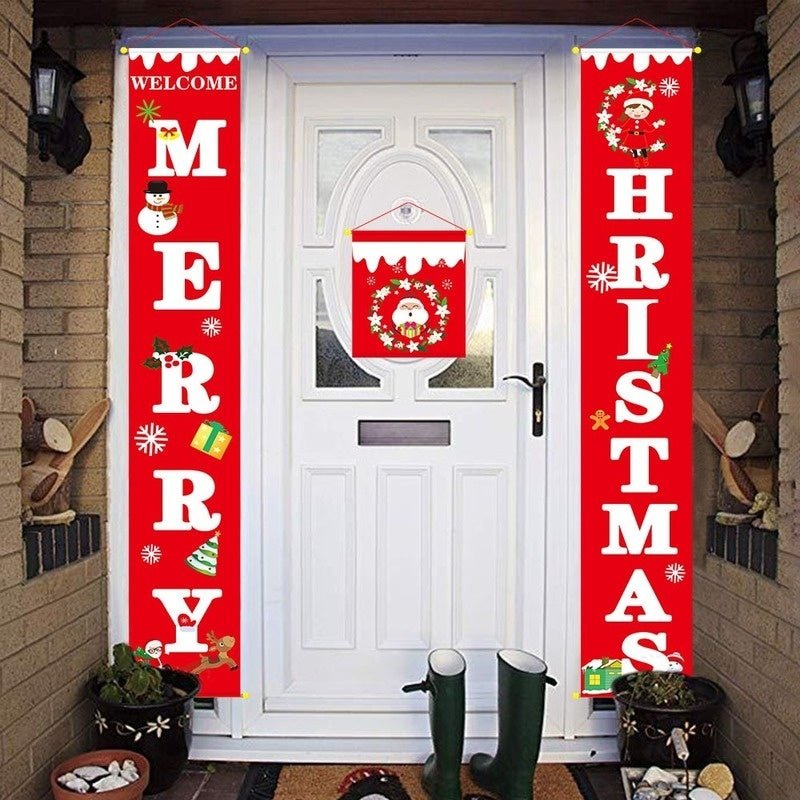 Fashion Cute Merry Christmas Porch Banner Outdoor Decoration Christmas Door Curtain for Home Party Hanging Pendant Christmas Decorations