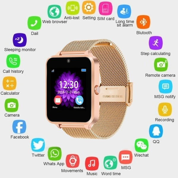 Bluetooth Smart Watch Z60 PLUS Lady Smart Watch Men Watch Pedometer Sedentary Girl Watch Remind Sleep Monitor with Remote Camera compatible with Smart Phone