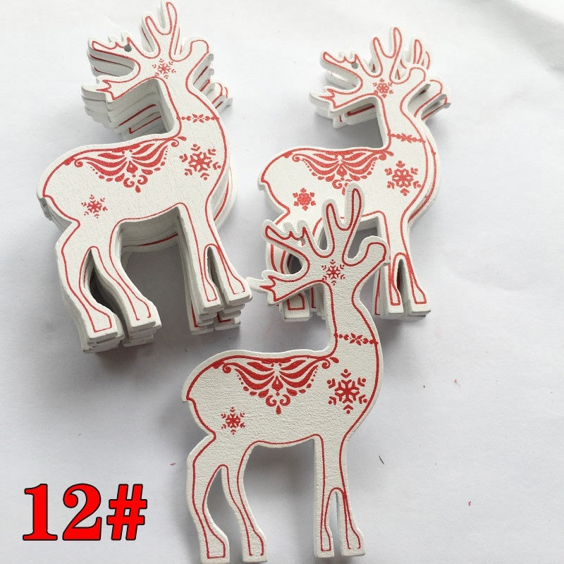 10pcs Snowflake Home D¨¦cor Tree Topper Indoor Hanging Ornaments Christmas Wooden Tags Red/ White Star