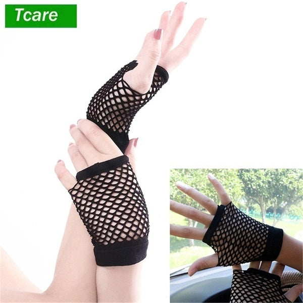 Tcare 1Pair Mesh Gloves Punk Sexy Night Club Fingerless Gloves for Women Hollow Net Gloves