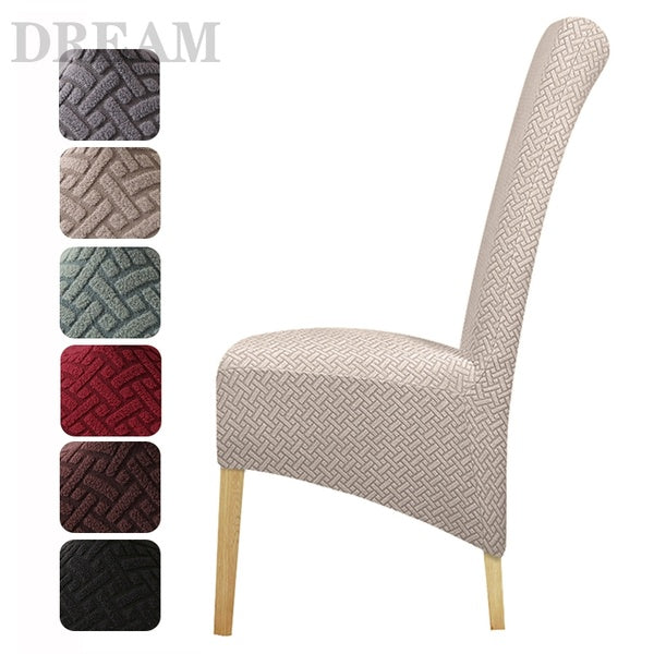 Plus XL Size Dining Room Chair Cover High Back Stretch Polar Fleece Fabric Stripe Slipcovers Seat Covers for Hotel Banquet Home Decor