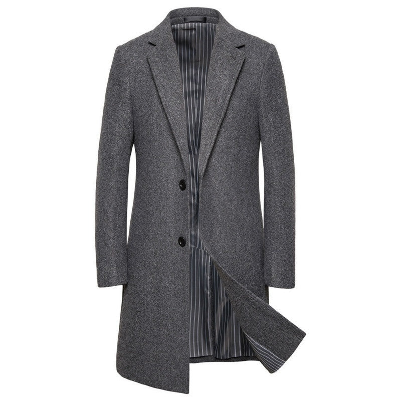 2019 winter new men's wool coat long trench coat large size (S-5XL)