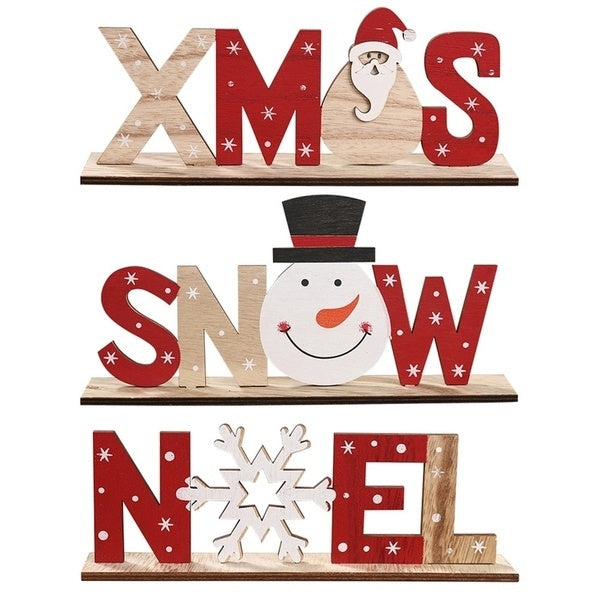 1PC 2020 Christmas Wood Sign Holiday Wood Plaque Sign Table Top Sign Plaque Xmas Party Decoration