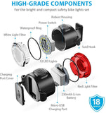 USB Rechargeable Bike Light Front and Back, Safety Bicycle LED Headlight & Rear Tail Light, Bike Lights Set, Easy to Install for Men, Women, Kids