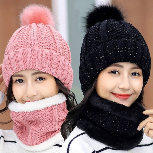 Fashion Winter Women's Hat with Scarf Warm Knitted Hat Wool Hats for Women Girl  Ring Scarf Pompoms Winter Hats