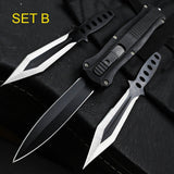 Double Edge Action Tactical Survival Assist Opening Fold Camping Hunting Knife With Two Ninja Throwing Knives Set