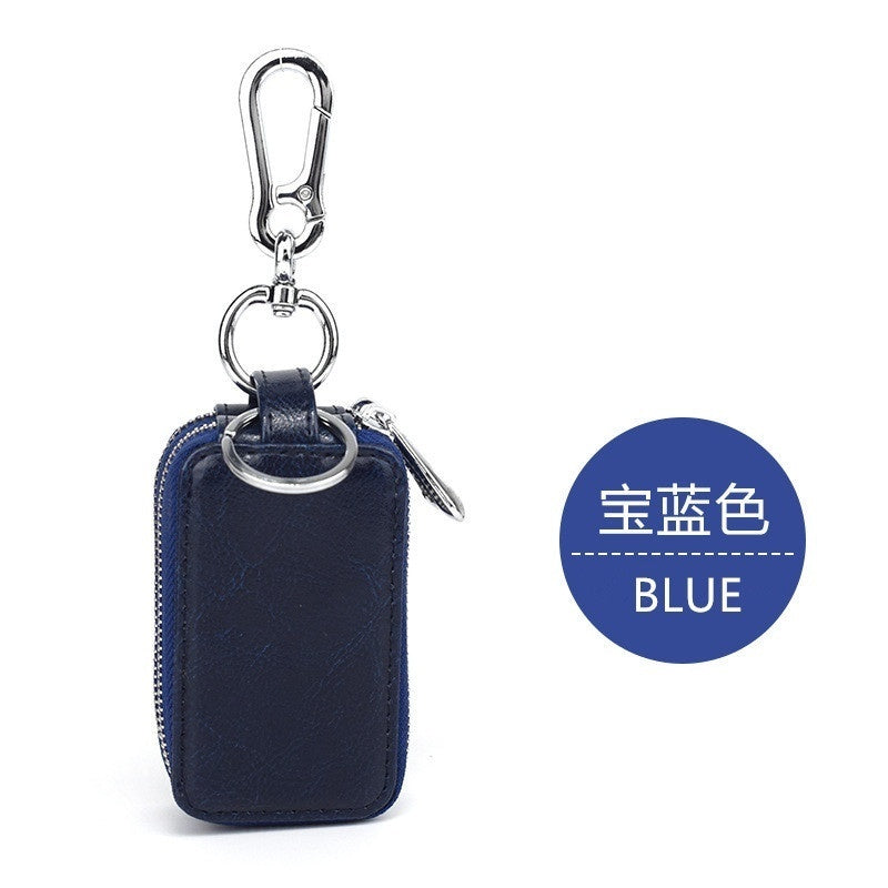 Universal Fashion Leather Double Layers Car Key Wallet Bag Oil Wax Leather Key Holder with Clear Window Remote Smart Key Fob Case