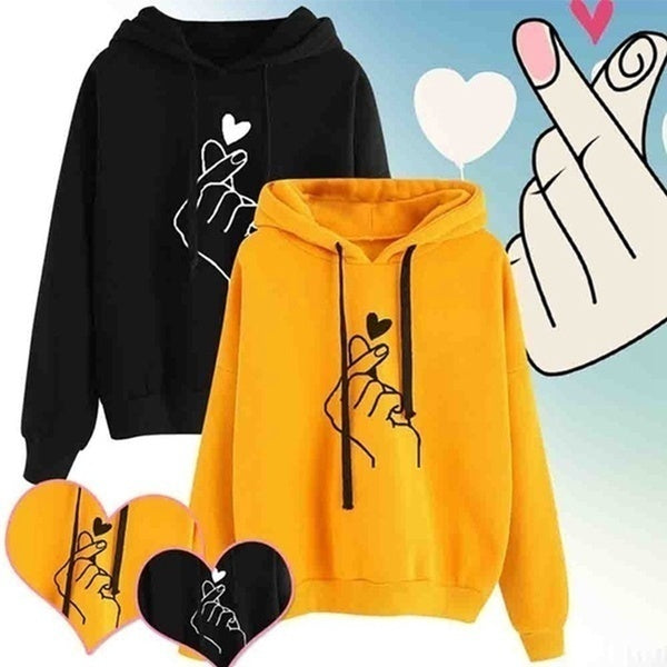 New Fashion Women's Hooded Sweater Casual Printed Finger Heart Long Sleeve Solid Color Loose Tops Hoodies Coat Pullover Hoodies Sweatshirts Plus Size