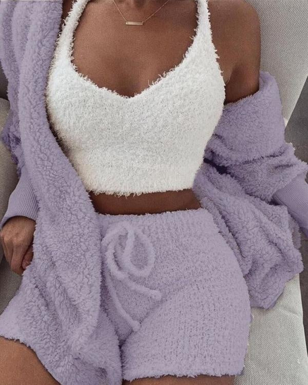 Women Winter Warm One/Two/Three Pieces Suit Soft Warm Flannel Shorts Pajamas Set Hooded Sleepwear Tracksuit for Women Sleepwear Set Women