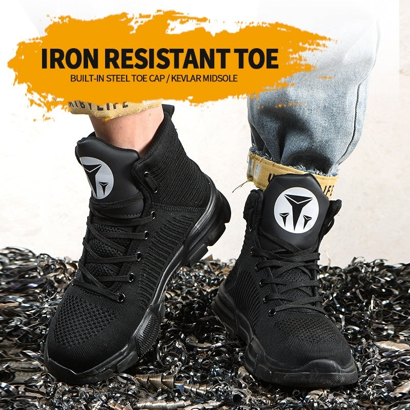 Men Warm Safety Flying Weaving Ankle Boots Steel Toe Cap Hiking Work Sneakers