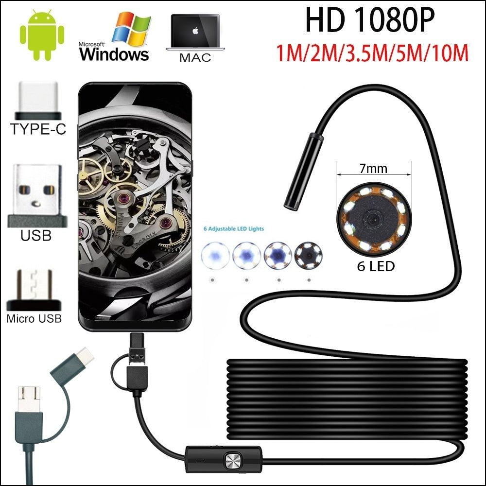 1M/2M/3.5M/5M/10M 7.0mm Endoscope Camera 1080P HD USB Endoscope with 6LED Cable Waterproof Inspection Borescope for Android PC