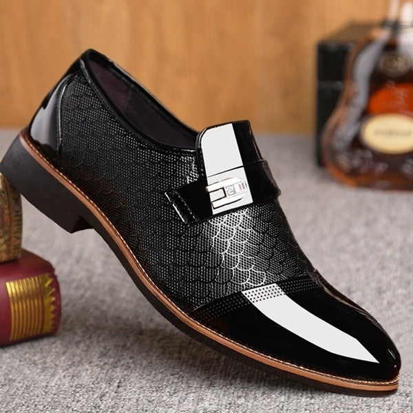 Fashion Men Flat Business Oxfords Shoes Male Wedding Dress Shoes Comfortable Pointed Toe Slip On Shoes Chaussures En Cuir Pour Homme Plus Size 38-48 Luxury Leather Shoes