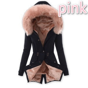 Woman Winter Fashion Keep Warm Hooded Thicken Jacket Fur Collar Slim Parka Cotton-padded Casual Outwear Inside Thick Lamb Wool Warm Coats Outwear