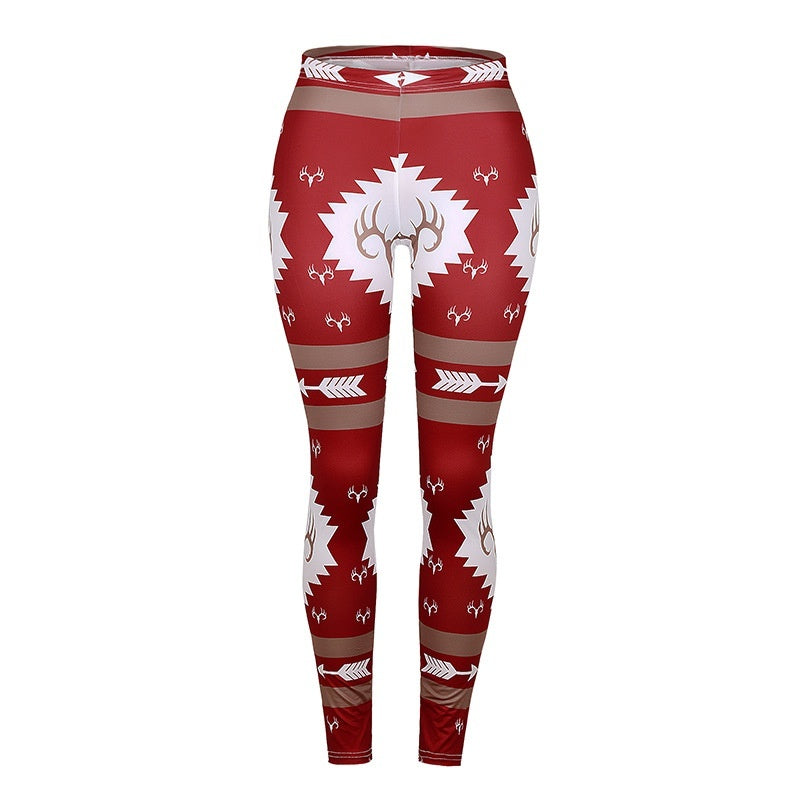 New Autumn Winter Leggings Christmas Deer Printed Warm Skinny Long Casual Slim Stretchy Pants High Waist Pencil Leggings