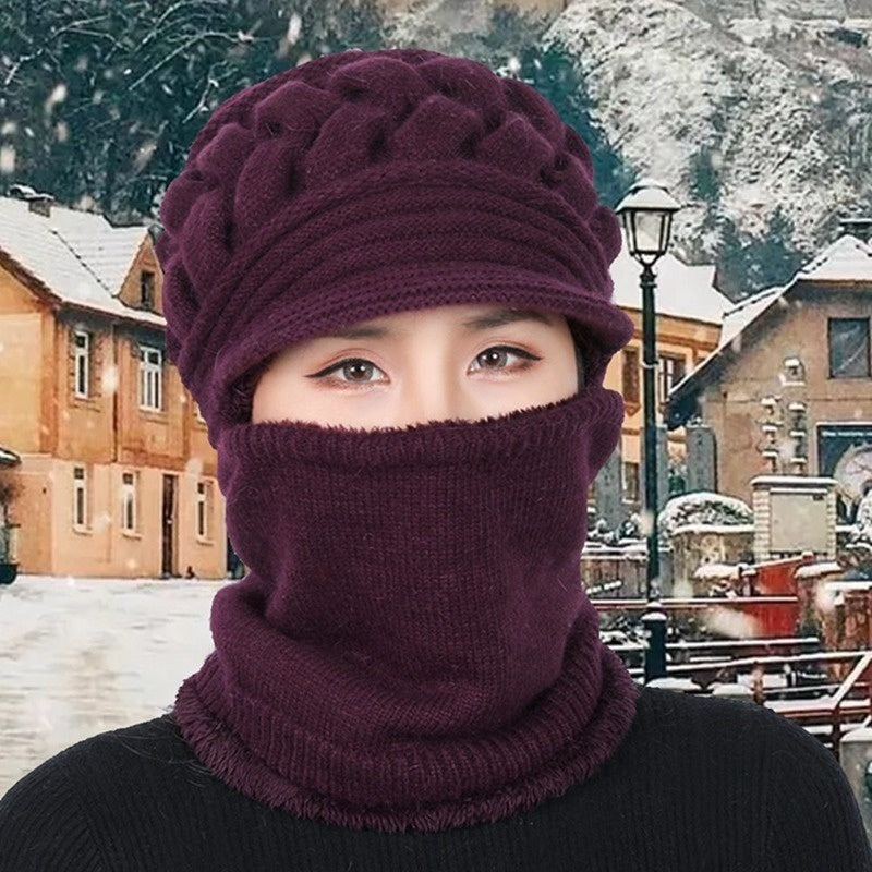 Women'S Winter Plush Wool Beanies Knitted Hat Bib One-Piece Hat Warm Baggy Beanie Knit Crochet Hat Slouch Ski Cap