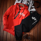 2019 New Autumn Casual Hooded Sportswear Two-piece Men's Sports Suit.