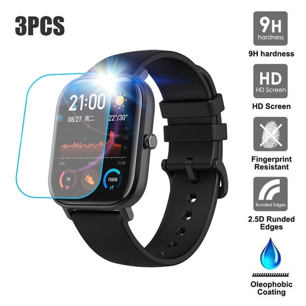 3PCS Clear Film Tempered Glass Screen Protector for AMAZFIT GTS Smart Watch