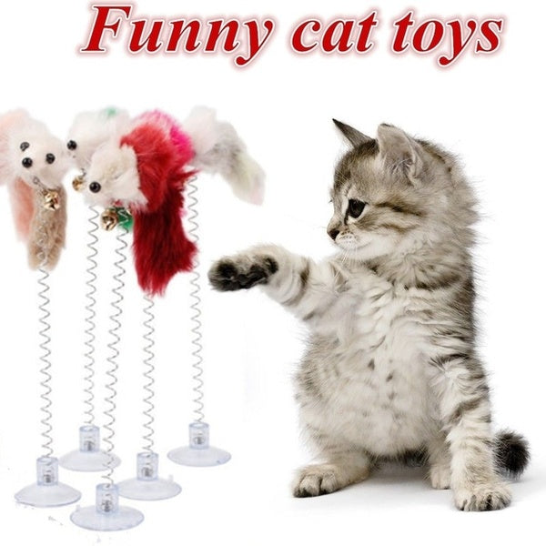 Funny Cat Toys Multicolored Sucker with Plush Mouse Pet Toys