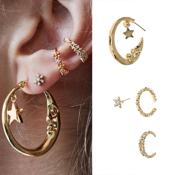 Women Fashion Geometric Shape Rhinestone Push Back Pierced Earrings Set