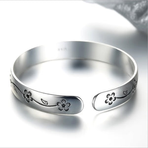 Women Jewelry Sterling Silver Flower Design Cuff Bangle&Bracelet for Gifts