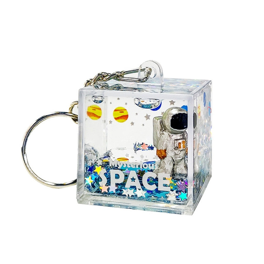 Mysterious Space Quicksand Square Keychain Astronaut Bag Charm Keyring  Jewelry ATH