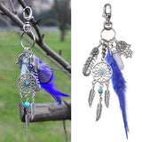 Women Fashion Key Chains Dreamcatcher Design Keyring Boho Style Feather Keychain