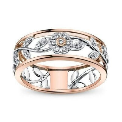Fashion Classic Two-tone Flower Ring Exquisite Flower Wedding Rings for Women Jewelry Luxury Cubic Zirconia Ring