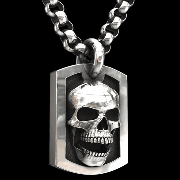 Fashion Charm Necklace Stainless Steel Men's 925 Sterling Silver Skulls Biker Pendant Necklace Chain Gothic Style Hip Hop Punk Necklace
