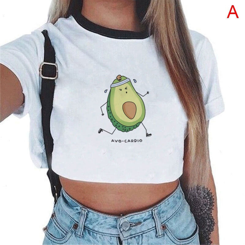 Harajuku Avocado Cartoon Print Korean Crop Top Women T Shirt Casual Tee Tops