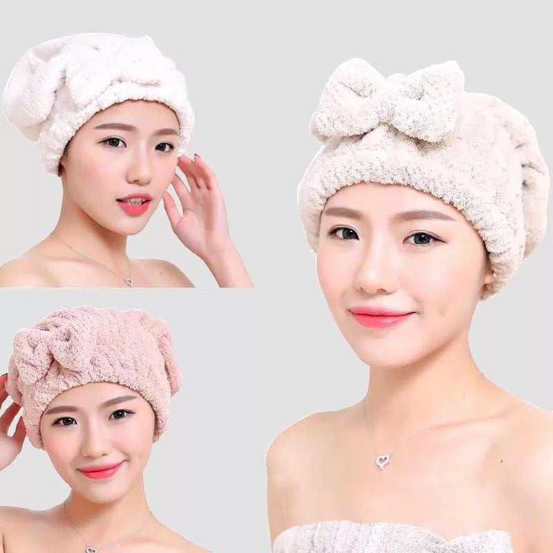 New Fashion Pineapple Lattice Magic Microfiber Water Absorbing Hair Dry Turban Wrap Towel Bathing Shower Cap