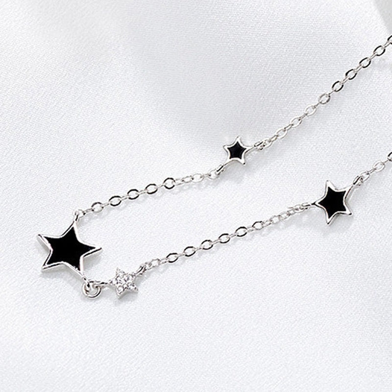 Cute Simple Fashion Epoxy Five-Pointed Star Black 925 Sterling Silver Jewelry Temperament Crystal Clavicle Chain Necklace
