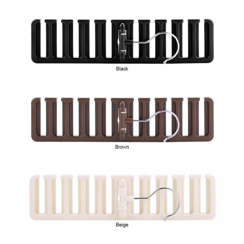 3 Colours 10 Slot Tie Belt Scarf Rack Organizer Sturdy Plastic Closet Wardrobe Space Saver