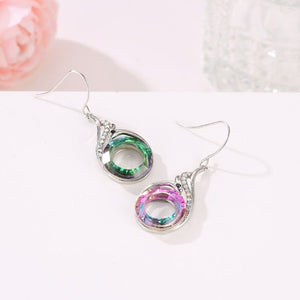 New 925 Standard Silver Women Earring Colorful Imitation Crystal Peacock Gradient Earrings National Style Retro Ear Jewelry