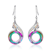 Load image into Gallery viewer, New 925 Standard Silver Women Earring Colorful Imitation Crystal Peacock Gradient Earrings National Style Retro Ear Jewelry