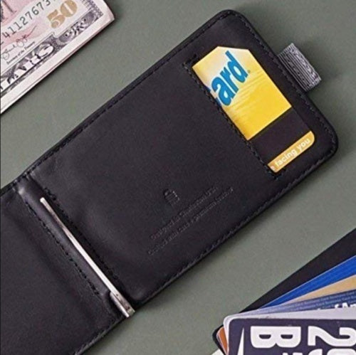 Men Fashion Handmade Geniue Leather 12 Cards & 30 Bills - Slim Pull-Out Wallet Card Holder