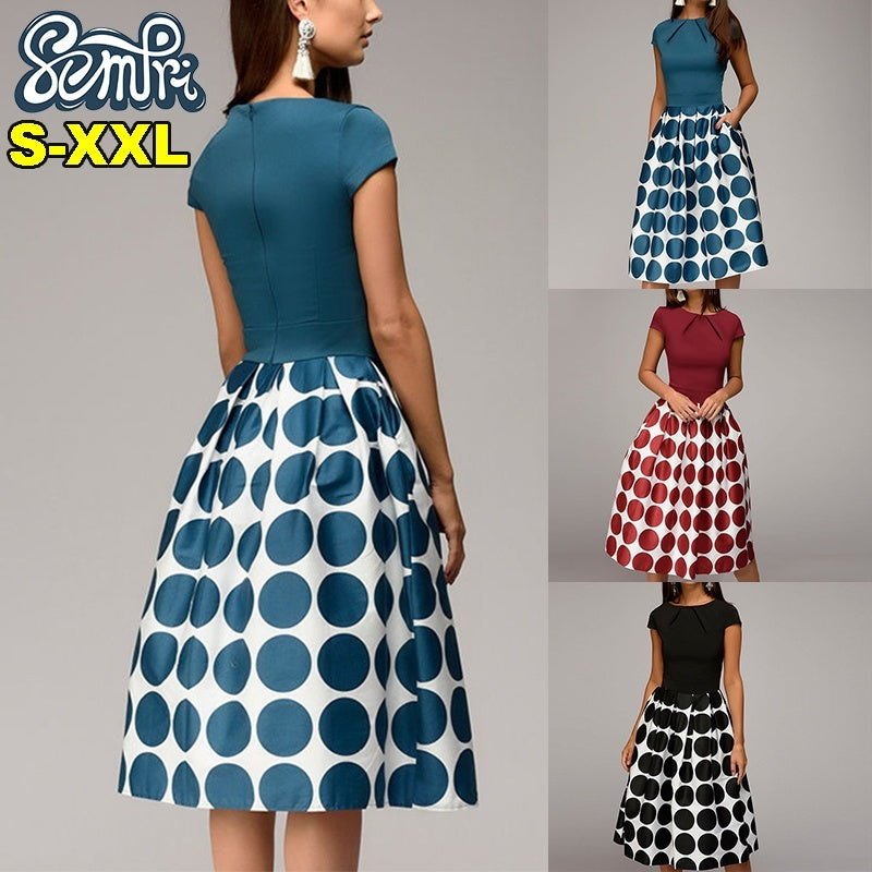 Elegant Party Prom Dress High Waist A Line Dress for Women Vintage Polka Dot Dress Summer Short Sleeve Midi Dress