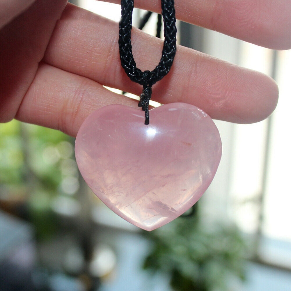 Natural Rose Quartz Heart Shaped Crystal Carved Palm Love Healing Gemstone