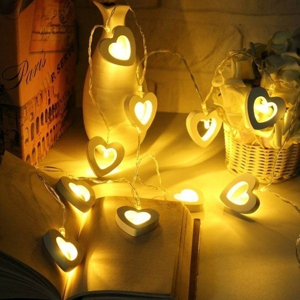 2/3 Meters 10/20LEDs Warm White String Fairy Lights Xmas Christmas Party Lamp Wooden Heart Pendant