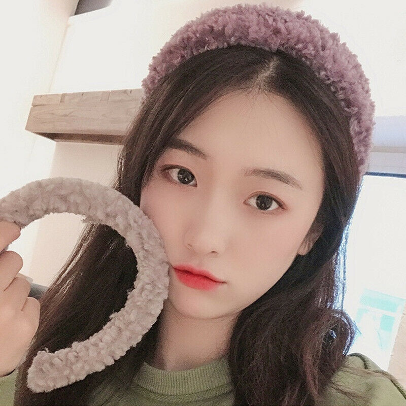 Winter Plush Fluffy Wide Headband Hair Hoop Hairband Headdress Gifts