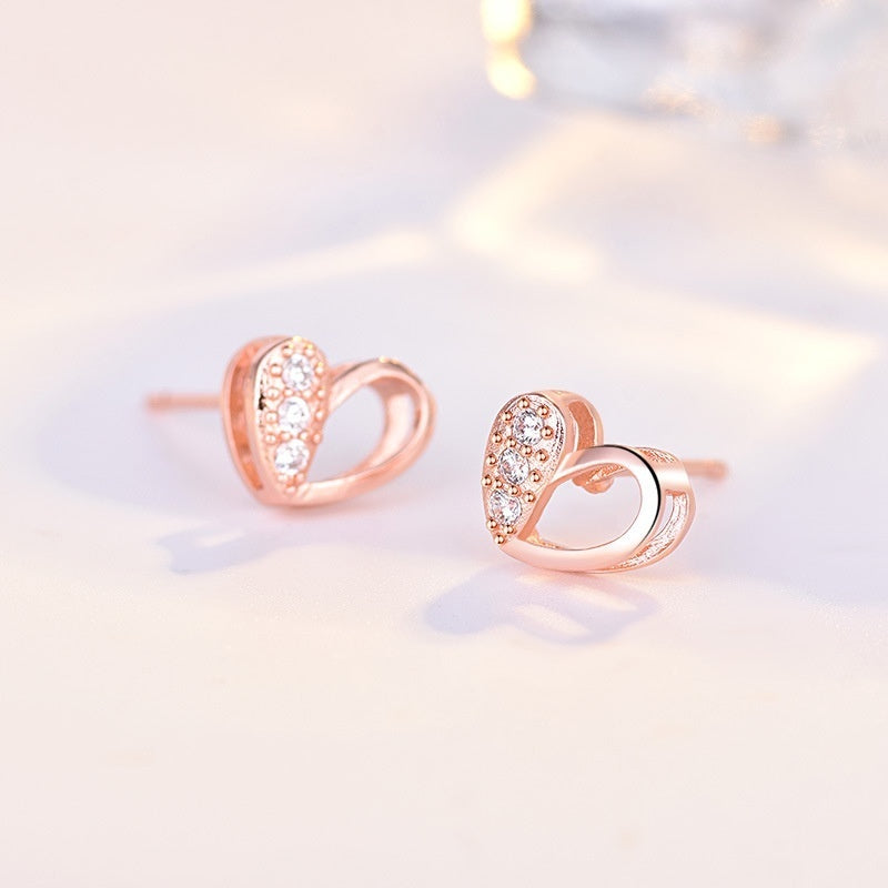 lady 18k rose gold plated heart earrings austria crystal women classic jewelry high polish bridal gift banquet ear studs