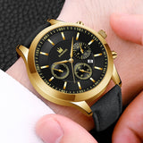 2020 Fashion Mens Casual Stainless Steel Calendar Quartz Watch Leather Belt Business Men Chronograph Date Wristwatch Christmas Gift Watch For Men Clock Relogios Para Homem