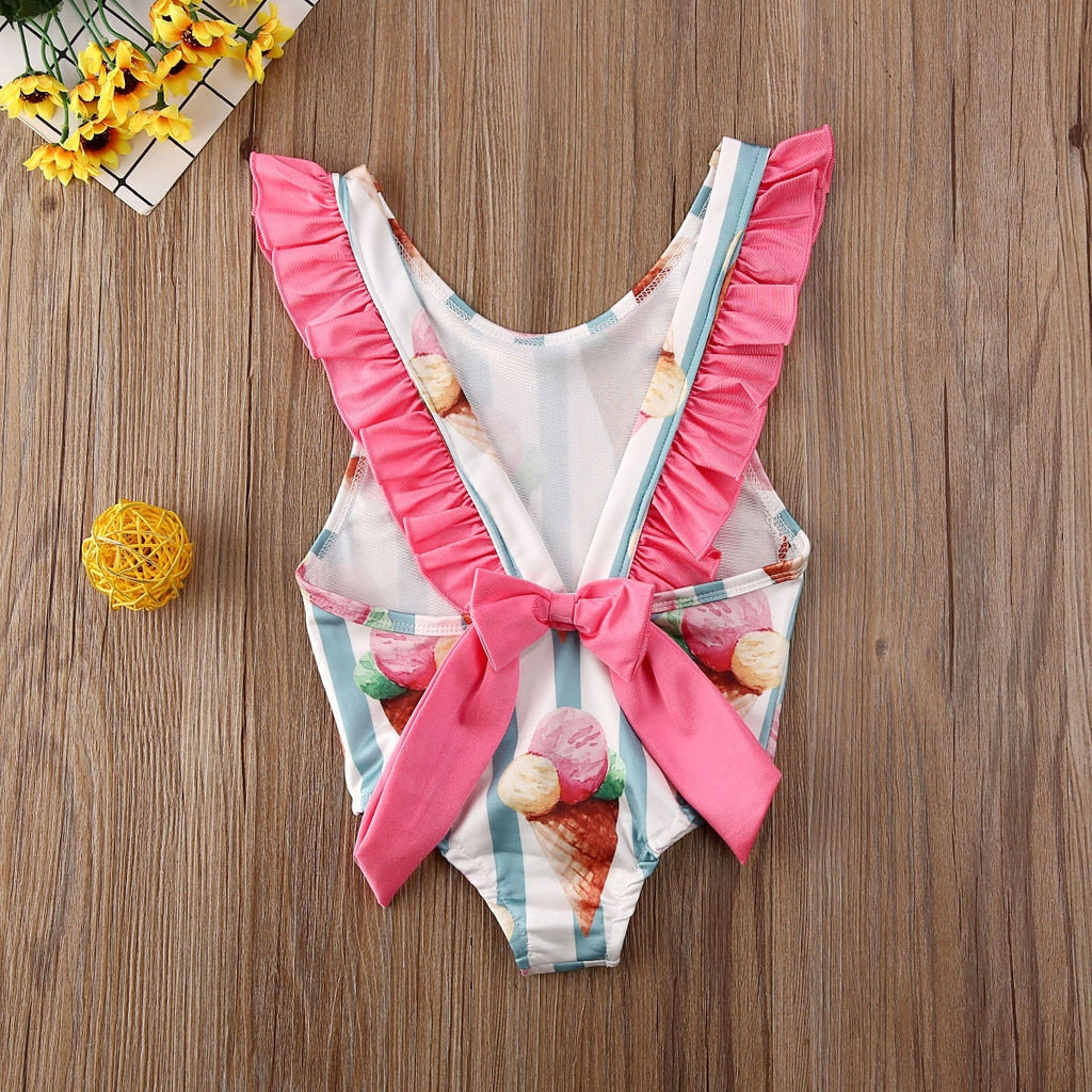Inant Toddler Kids Baby Girls Striped Swimwear Bow Bikini Swimsuit Swimming Clothes Tops